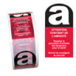 RUBAN ADHESIF ATTENTION CONTIENT AMIANTE 50 mm x 100 ML NOIR ET ROUGE